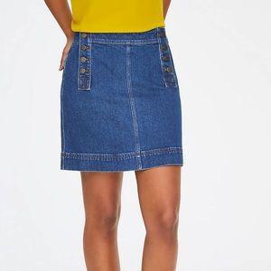 Loft sailor jean skirt denim button front mini